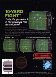 Box back cover for 10-Yard Fight on the Nintendo NES.