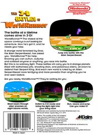 Box back cover for 3D World Runner on the Nintendo NES.