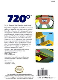 Box back cover for 720 Degrees on the Nintendo NES.