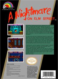 Box back cover for A Nightmare on Elm Street on the Nintendo NES.