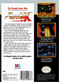 Box back cover for Abadox: The Deadly Inner War on the Nintendo NES.