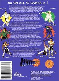 Box back cover for Action 52 on the Nintendo NES.