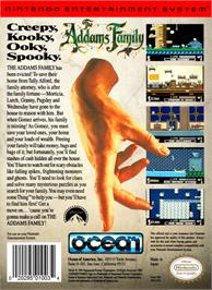 Box back cover for Addams Family, The on the Nintendo NES.