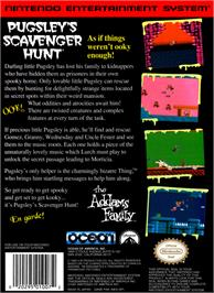 Box back cover for Addams Family: Pugsley's Scavenger Hunt on the Nintendo NES.