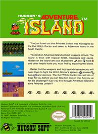 Box back cover for Adventure Island on the Nintendo NES.