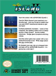 Box back cover for Adventure Island 2 on the Nintendo NES.