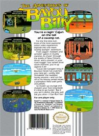 Box back cover for Adventures of Bayou Billy on the Nintendo NES.