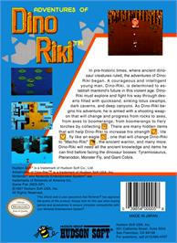 Box back cover for Adventures of Dino-Riki on the Nintendo NES.