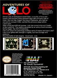 Box back cover for Adventures of Lolo on the Nintendo NES.
