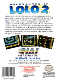 Box back cover for Adventures of Lolo 2 on the Nintendo NES.