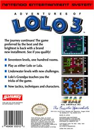 Box back cover for Adventures of Lolo  3 on the Nintendo NES.