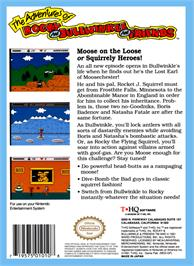 Box back cover for Adventures of Rocky and Bullwinkle and Friends on the Nintendo NES.