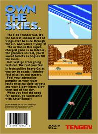 Box back cover for After Burner on the Nintendo NES.