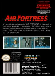 Box back cover for Air Fortress on the Nintendo NES.