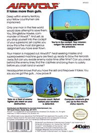 Box back cover for Airwolf on the Nintendo NES.