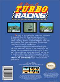 Box back cover for Al Unser Jr. Turbo Racing on the Nintendo NES.