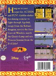 Box back cover for Aladdin on the Nintendo NES.