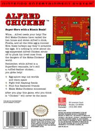 Box back cover for Alfred Chicken on the Nintendo NES.