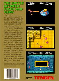Box back cover for Alien Syndrome on the Nintendo NES.