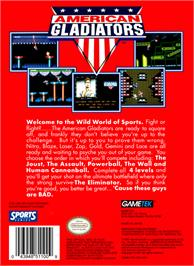 Box back cover for American Gladiators on the Nintendo NES.