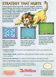 Box back cover for Archon: The Light and the Dark on the Nintendo NES.