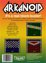 Box back cover for Arkanoid on the Nintendo NES.