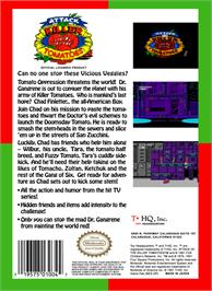 Box back cover for Attack of the Killer Tomatoes on the Nintendo NES.