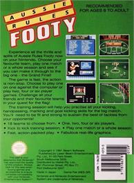 Box back cover for Aussie Rules Footy on the Nintendo NES.