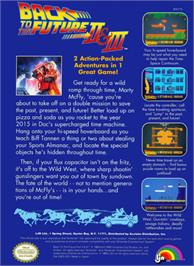 Box back cover for Back to the Future 2 & 3 on the Nintendo NES.