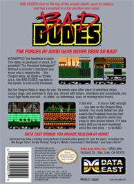 Box back cover for Bad Dudes on the Nintendo NES.