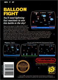 Box back cover for Balloon Fight on the Nintendo NES.