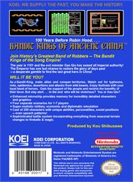 Box back cover for Bandit Kings of Ancient China on the Nintendo NES.