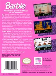 Box back cover for Barbie on the Nintendo NES.
