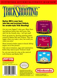 Box back cover for Barker Bill's Trick Shooting on the Nintendo NES.