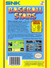 Box back cover for Baseball Stars on the Nintendo NES.