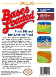 Box back cover for Bases Loaded on the Nintendo NES.