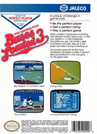 Box back cover for Bases Loaded 3 on the Nintendo NES.