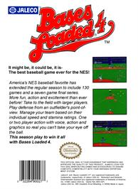 Box back cover for Bases Loaded 4 on the Nintendo NES.