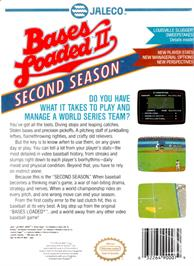 Box back cover for Bases Loaded II: Second Season on the Nintendo NES.