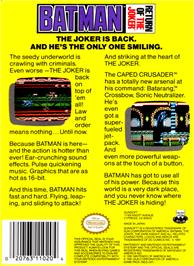 Box back cover for Batman: Return of the Joker on the Nintendo NES.