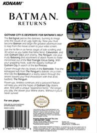 Box back cover for Batman Returns on the Nintendo NES.