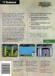Box back cover for Battle of Olympus on the Nintendo NES.