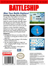 Box back cover for Battleship on the Nintendo NES.