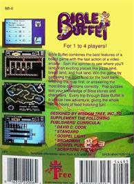 Box back cover for Bible Buffet on the Nintendo NES.