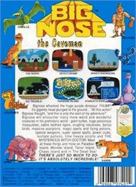 Box back cover for Big Nose the Caveman on the Nintendo NES.
