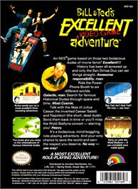 Box back cover for Bill & Ted's Excellent Adventure on the Nintendo NES.