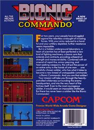 Box back cover for Bionic Commando on the Nintendo NES.