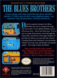 Box back cover for Blues Brothers on the Nintendo NES.