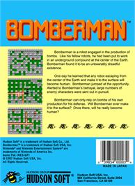 Box back cover for Bomberman on the Nintendo NES.