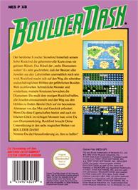 Box back cover for Boulder Dash on the Nintendo NES.